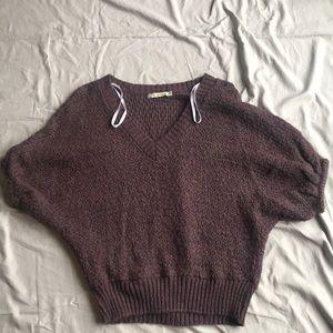 American Rag purple v-neck short sleeve sweater